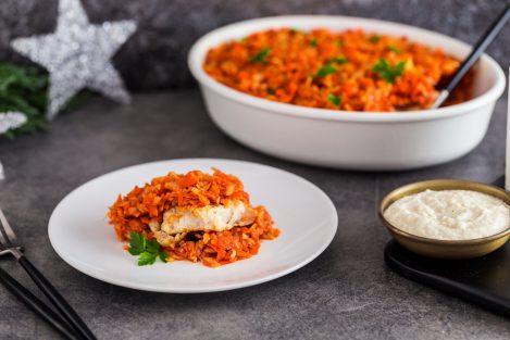 ryba po grecku, przepis na rybę po grecku, jak zrobić rybę po grecku, ryba po grecku z chrzanem, chrzan delikatesowy mosso